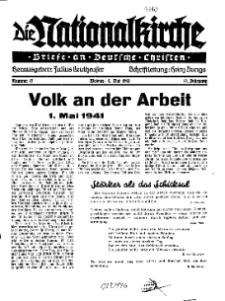 Die Nationalkirche : Briefe an Deutsche Christen, Jg. 10, 1941, H. 17.