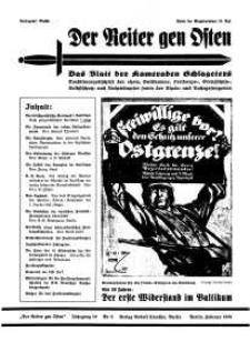 Der Reiter Gen Osten : das Blatt der Kameraden Schlageters, Jg. 10, 1939, H. 2.