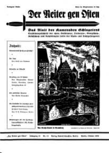 Der Reiter Gen Osten : das Blatt der Kameraden Schlageters, Jg. 10, 1939, H. 10.