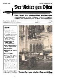Der Reiter Gen Osten : das Blatt der Kameraden Schlageters, Jg. 9, 1938, H. 7.