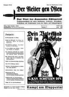 Der Reiter Gen Osten : das Blatt der Kameraden Schlageters, Jg. 9, 1938, H. 10.
