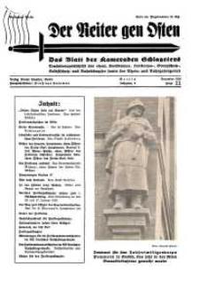 Der Reiter Gen Osten : das Blatt der Kameraden Schlageters, Jg. 9, 1938, H. 11.