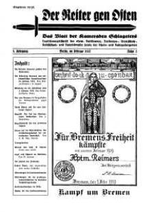 Der Reiter Gen Osten : das Blatt der Kameraden Schlageters, Jg. 8, 1937, H. 2.