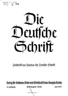 Die Deutsche Schrift : Zeitschrift des Bundes für Deutsche Schrift, Jg. 16, 1939, H. 2.