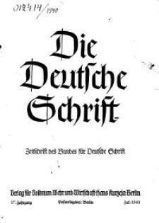 Die Deutsche Schrift : Zeitschrift des Bundes für Deutsche Schrift, Jg. 17, 1940, H. 1-2.