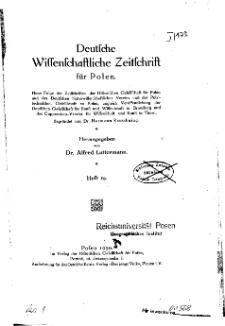 Deutsche wissenschaftliche Zeitschrift für Polen, 1930, H. 19.
