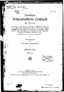 Deutsche wissenschaftliche Zeitschrift für Polen, 1931, H. 23.