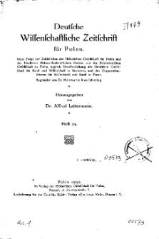 Deutsche wissenschaftliche Zeitschrift für Polen, 1932, H. 24.