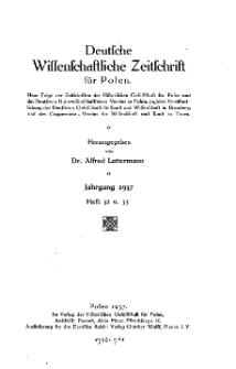 Deutsche wissenschaftliche Zeitschrift für Polen, 1937, H. 32.