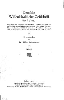 Deutsche wissenschaftliche Zeitschrift für Polen, 1937, H. 33.