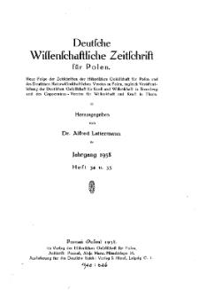 Deutsche wissenschaftliche Zeitschrift für Polen, 1938, H. 34.