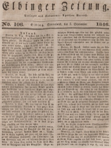Elbinger Zeitung, No. 106 Sonnabend, 5. September 1846