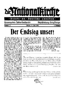 Die Nationalkirche : Briefe an Deutsche Christen, Jg. 9, 1940, H. 23.