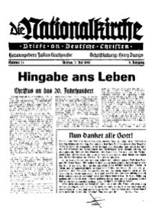 Die Nationalkirche : Briefe an Deutsche Christen, Jg. 9, 1940, H. 25.