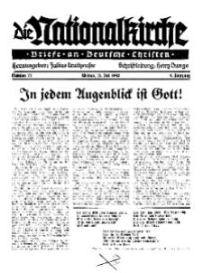 Die Nationalkirche : Briefe an Deutsche Christen, Jg. 9, 1940, H. 27.