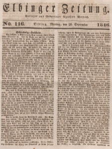 Elbinger Zeitung, No. 116 Montag, 28. September 1846