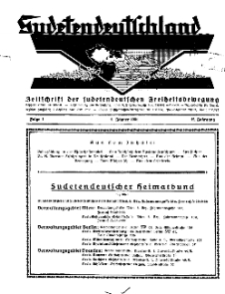 Sudetendeutschland : Zeitschrift für die sudetendeutsche Bewegung im Auslande, 1931, H. 1