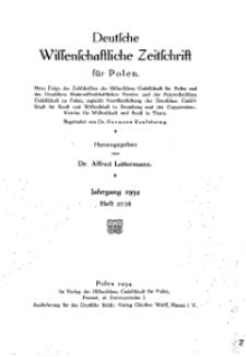 Deutsche wissenschaftliche Zeitschrift für Polen, 1934, H. 28.
