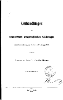 Verhandlungen des neuznehnten westpreussischen Städtetages, abgehalten in Danzig am 31. Juli und 1. August 1911.