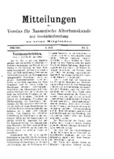 Mitteilunges des Vereins für Nassauische Altertumskunde und Geschichtsforschung an seine Mitglieder, 1900/1901, No. 2.