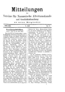 Mitteilunges des Vereins für Nassauische Altertumskunde und Geschichtsforschung an seine Mitglieder, 1902/1903, No. 2.