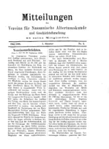 Mitteilunges des Vereins für Nassauische Altertumskunde und Geschichtsforschung an seine Mitglieder, 1902/1903, No. 3.
