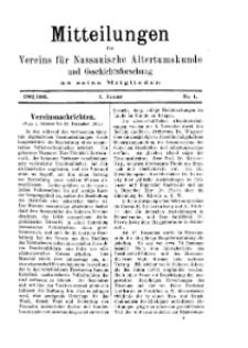 Mitteilunges des Vereins für Nassauische Altertumskunde und Geschichtsforschung an seine Mitglieder, 1902/1903, No. 4.