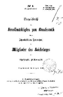 Verzeichnis der Bevollmächtigsten zum Bundesrath sowie Alphabetisches Verzeichniß der Mitglieder des Reichstages...1902