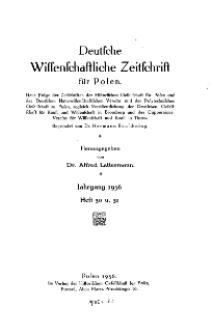 Deutsche wissenschaftliche Zeitschrift für Polen, 1936, H. 30.