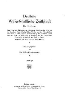 Deutsche wissenschaftliche Zeitschrift für Polen, 1936, H. 31.