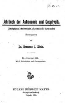 Jahrbuch der Astronomie und Geophysik, 3. Jg. 1892