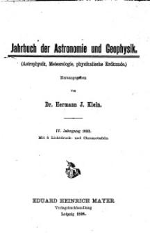 Jahrbuch der Astronomie und Geophysik, 4. Jg. 1893