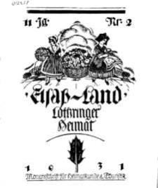 Elsaß-Land, Lothringer Heimat, 11. Jg. 1931, H. 2.