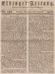 Elbinger Zeitung, No. 144 Donnerstag, 3. Dezember 1846