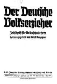 Der Deutsche Volkserzieher. Zeitstschrift für Volksschullehrer, 4. Jg. 1939, 19/20
