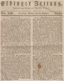 Elbinger Zeitung, No. 149 Montag, 14. Dezember 1846