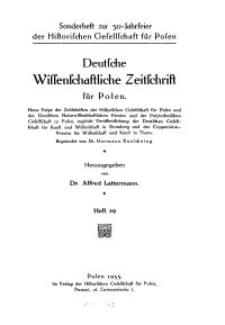 Deutsche wissenschaftliche Zeitschrift für Polen, 1935, H. 29.