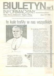 """Biuletyn Informacyjny MKZ NSZZ """"Solidarność"""" Elbląg, nr 1/1981"""
