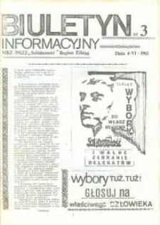 """Biuletyn Informacyjny MKZ NSZZ """"Solidarność"""" Elbląg, nr 3/1981"""