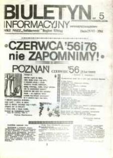 """Biuletyn Informacyjny MKZ NSZZ """"Solidarność"""" Elbląg, nr 5/1981"""