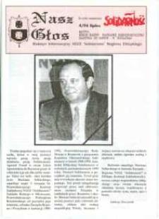 """Nasz Głos. Biuletyn Informacyjny NSZZ """"Solidarność"""" Regionu Elbląskiego, 1994, nr 4"""