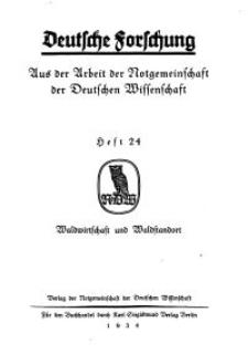 Deutsche Forschung. Aus der Arbeit der Notgemeinschaft der Deutschen Wissenschaf, 1934, H. 24.