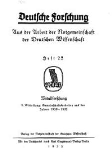 Deutsche Forschung. Aus der Arbeit der Notgemeinschaft der Deutschen Wissenschaf, 1933, H. 22.