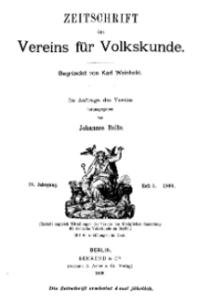 Zeitschrift des Vereins für Volkskunde, 18. Jahrgang, 1908, Heft 3.