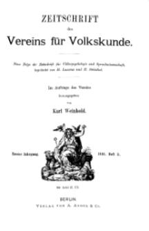 Zeitschrift des Vereins für Volkskunde, 1. Jahrgang, 1891, Heft 3.