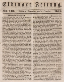 Elbinger Zeitung, No. 148 Donnerstag, 20. Dezember 1849