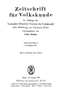 Zeitschrift des Vereins für Volkskunde, 44. Jahrgang, 1934, Band 6.