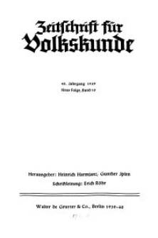 Zeitschrift des Vereins für Volkskunde, 48. Jahrgang, 1939, Band 10.
