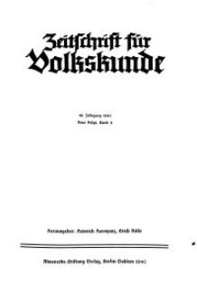 Zeitschrift des Vereins für Volkskunde, 49. Jahrgang, 1940, Band 11.