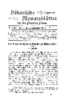 Historische Monatsblätter für die Provinz Posen, Jg. 1, 1900, Nr 8/9.